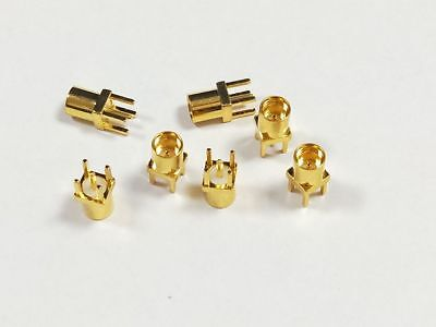 100PCS MMCX female FOR PCB connector straight goldplated PTFE