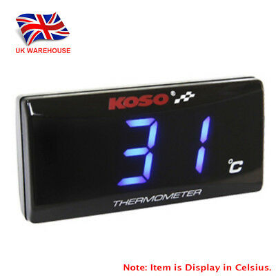KOSO Slimline Oil/Water Thermometer LED Display Temperature Gauge - Blue In UK