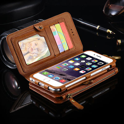 Luxury Leather Flip Wallet Phone Case Cover for iPhone 5 6 6s 7 Plus Samsung