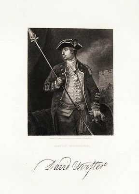 1835 General David Wooster Steel Engraving Portrait by Longacre after Wooster