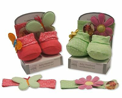 Baby Girls Headband and Booties Set - Size Newborn - Pink or Green - 648/649