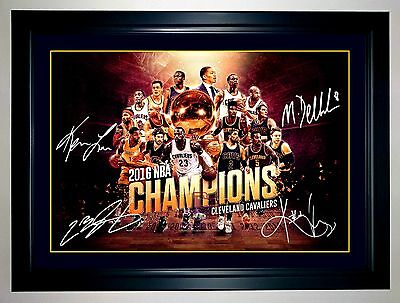 LEBRON JAMES KYRIE IRVING KEVIN LOVE DELLY 2016 NBA CHAMPS A3 Framed Signed Art