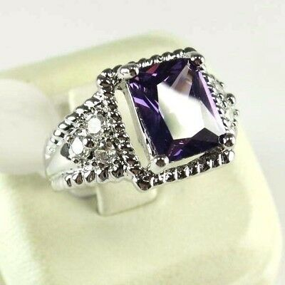 R#8231 Simulated Purple Amethyst & Topaz Gemstones unisex silver ring size 8.5