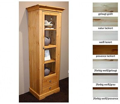 vitrine 1 t rig wohnzimmer schrank vitrinenschrank schmal holz kiefer massiv eur 743 00. Black Bedroom Furniture Sets. Home Design Ideas