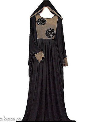 New DUBAI Black an Beige Elegant Abaya Jilbab Kaftan Islamic Clothing Maxi Dress