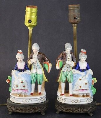 Pair Vintage Shabby Chic Figural French Courtship Porcelain Gold Gilt Lamps