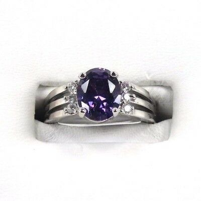 R#1940 simulated Purple Amethyst & White Topaz Gems Ladies silver ring size 9