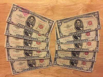 1928, 1953, & 1963 $5.00 Red Seal Collection of Notes