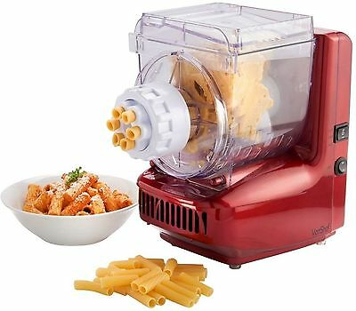VonShef Red Electric Pasta Maker Home Spaghetti Noodle Machine 6 Attachments NEW
