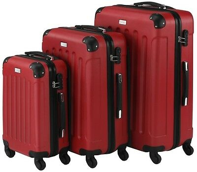 VonHaus 3 Piece Red Hard Shell Extra Strong Lightweight Suitcase Luggage Set NEW