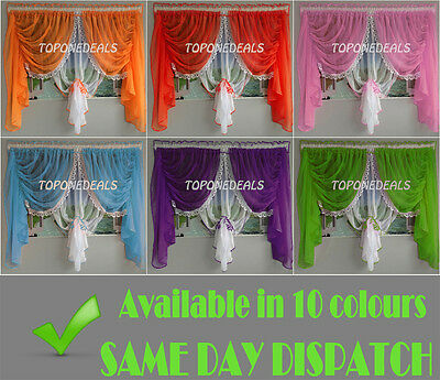 Amazing Voile Net Curtains with Lace Ready Made Red Blue Green Brown Orange New