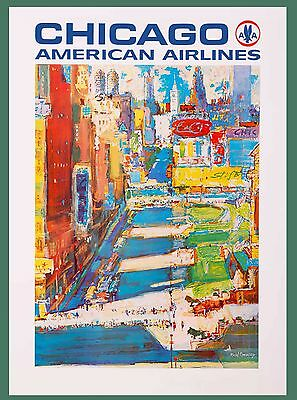 Chicago Illinois American Airlines United States Travel Advertisement Poster