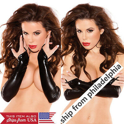 Lady Faux Leather Evening Party Over Elbow Fingerless Black Long Gloves