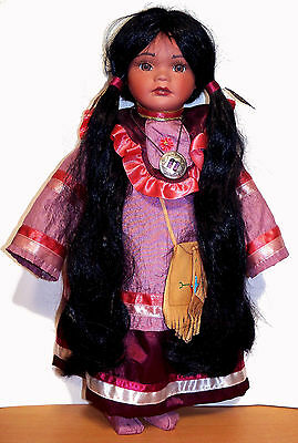"Lovely 18"" Native American Doll by Madison Lee - Porcelain & Cloth - VGC"