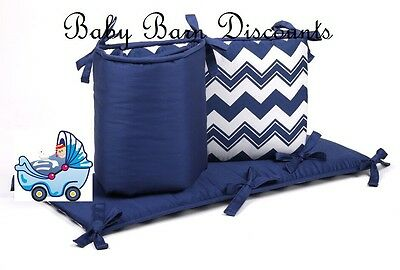The Peanut Shell Chevron Cot Bumper in Navy - FLOOR STOCK