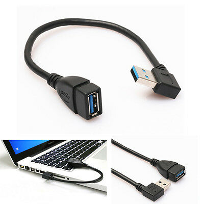 New USB 3.0 Type A Right Angle 90 Degree Extension Cable Female to Male Adapter