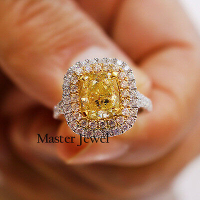 2.51Ct Cushion Cut Diamond Engagement Ring Fancy Yellow VS Halo 925 Silver