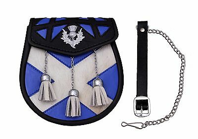 Sporran Leather With Saltire And Thistle Design Semi Dress Sporran Cow Hide