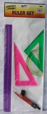 24 x Ruler Set With Protractor School reduced to clear bulk wholesale lot