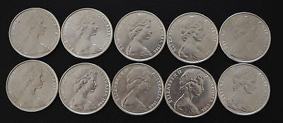 10 X Australian 1966 round 50 cent 80% silver Coin Gift