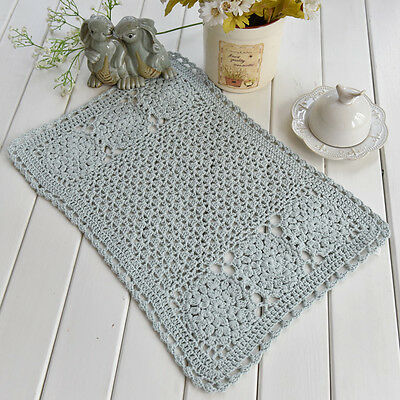 Vintage Style Hand Crochet Cotton Grey Green Table Topper Placemat A