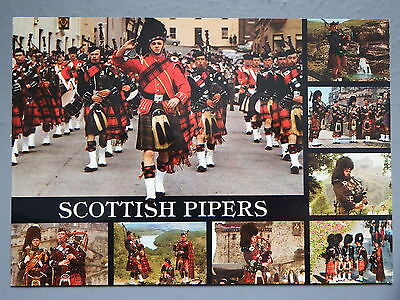 R&L Postcard: Scottish Pipers, Great Highland Pipes