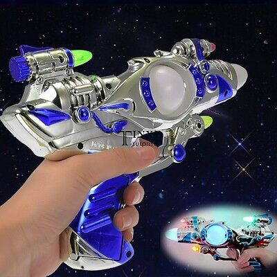 LED Space Toy Gun Pistol Flashing Light Multi-Color & Sound Effects TXSU