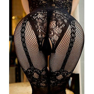 Charming Sexy Open Crotch Stockings Crotchless Fishnet Sheer Body Dress Lingerie