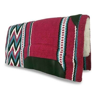 Pink Aqua Western/Stock Saddle Show Pad/Blanket - NZ WOOL - Thick Fleece Padding