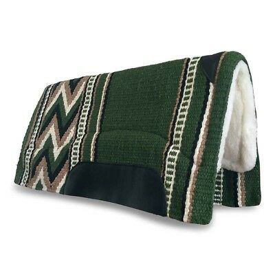 Green Western/Stock Saddle Show Pad/Blanket NZ WOOL Thick Fleece Padding FREE PP
