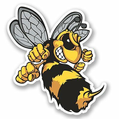 2 x Wasp Bee Hornet Vinyl Sticker Laptop Travel Luggage #4637