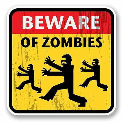 2 x Zombie Warning Vinyl Sticker Laptop Travel Luggage #4100
