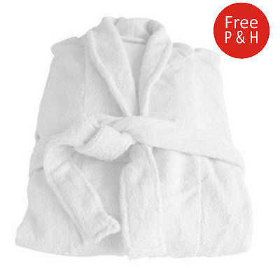 Soft Bath Robe Dressing Gown Luxury Pure Organic Natural Bamboo White & Grey