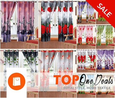 Sale Sale!!! Amazing 3D Photo Print Curtains Ready Made Pair Eyelet New Ring Top