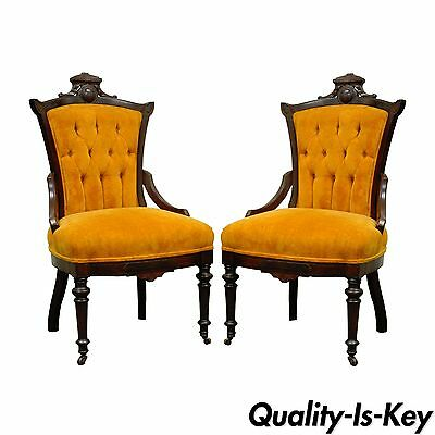 Pair of Antique Victorian Carved Walnut Fireside Parlor Side Chairs Eastlake vtg