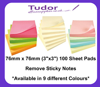 """Yellow Remove Sticky Post It Notes 76mm x 76mm 3"""" x 3"""" (1 x pack of 100)"""