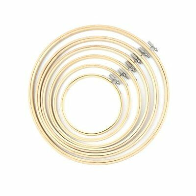 """Simple Wooden Cross Stitch Machine Embroidery Hoop Ring Bamboo Sewing 5-11.8"""" LN"""