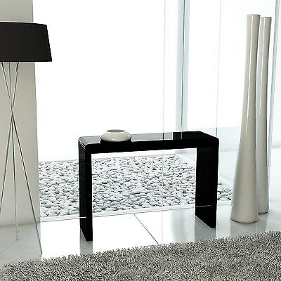 Black High Gloss Narrow Console Table