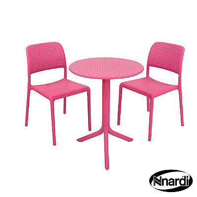 """PROMOTIONAL PRICE NARDI PINK /""""STEP/"""" TEA-FOR-TWO TABLE with 2 /""""BISTROT CHAIRS/"""""""