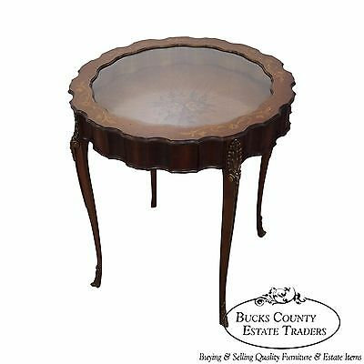 Antique French Louis XV Hand Painted Vitrine Side Center Table