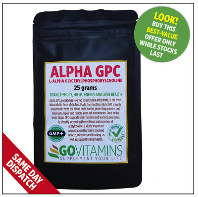 BEST SELLING ALPHA GPC POWDER 50% (25g or 50g) FROM ONLY £14.89 – GOVITAMINS