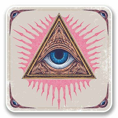 2 x All Seeing Eye Vinyl Sticker Laptop Travel Luggage Car #5653