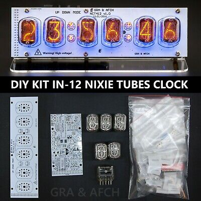 Nixie Tubes Clock IN-12 DIY KIT PCBs + ALL Parts + Socket pin WITH TUBES