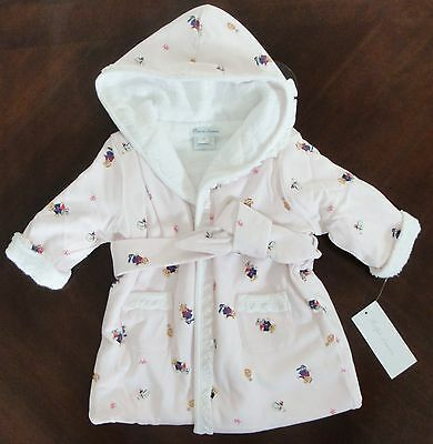 NWT Ralph Lauren Infant Girls Polo Bear Terry Hooded Bath Robe 3m 6m 9m NEW $75*