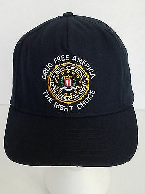 FBI DOJ Drug Free America The Right Choice Blue Ball Cap Hat