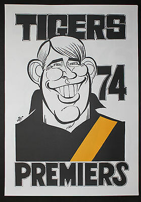 1974  Richmond Premiers Weg poster Royce Hart caricature Tigers Premiership