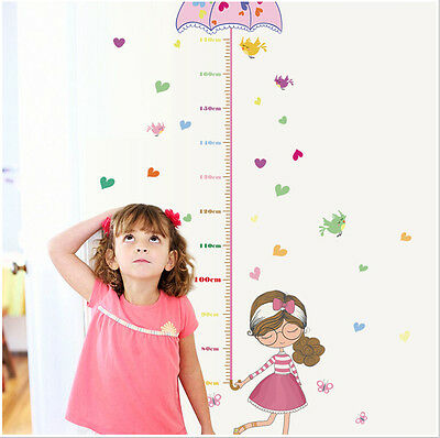 Umbrella Girls Height Measure Wall Sticker Kids Room Decal Nursery Baby Decor