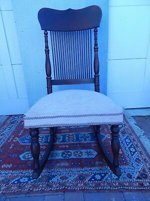 """Unique Victorian Dark Mahogany Wood Rocking Chair 38 1/2""""h by18""""w by 17""""d"""