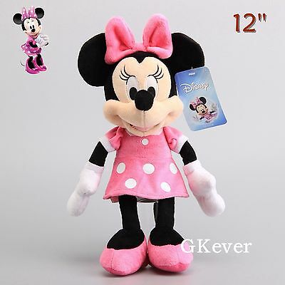 License 12'' Minnie Mouse Plush Doll Soft Stuffed Toy Xmas Gift High Quality