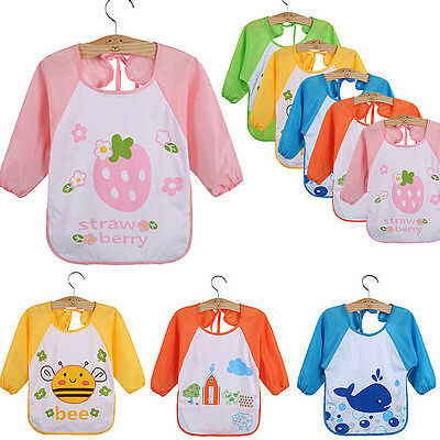 Baby Toddler Waterproof Long Sleeve Children Kids Feeding Art Smock Bib Apron MA